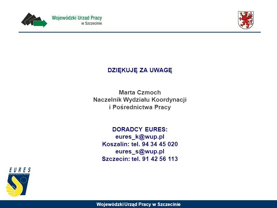 Wojewódzki Urząd Pracy w Szczecinie DZIĘKUJĘ ZA UWAGĘ Marta Czmoch Naczelnik Wydziału Koordynacji i Pośrednictwa Pracy DORADCY EURES: eures_k@wup.pl Koszalin: tel.