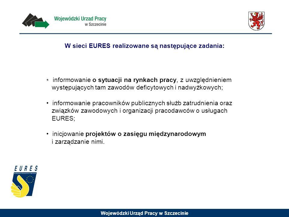 Wojewódzki Urząd Pracy w Szczecinie W sieci EURES realizowane są następujące zadania: informowanie o sytuacji na rynkach pracy, z uwzględnieniem występujących tam zawodów deficytowych i nadwyżkowych; informowanie pracowników publicznych służb zatrudnienia oraz związków zawodowych i organizacji pracodawców o usługach EURES; inicjowanie projektów o zasięgu międzynarodowym i zarządzanie nimi.