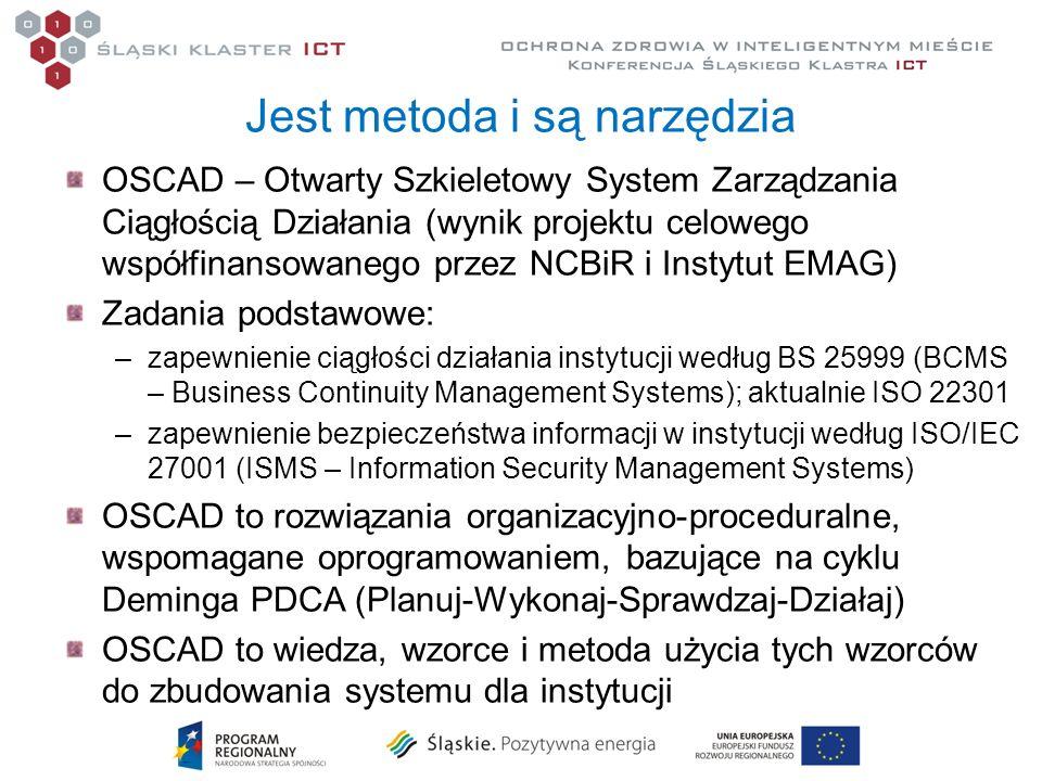 Jest metoda i są narzędzia OSCAD – Otwarty Szkieletowy System Zarządzania Ciągłością Działania (wynik projektu celowego współfinansowanego przez NCBiR
