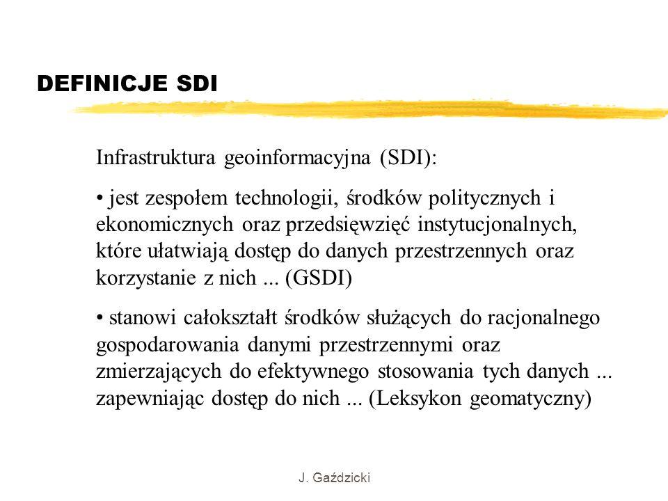 J. Gaździcki DEFINICJE SDI Infrastruktura geoinformacyjna (SDI): jest zespołem technologii, środków politycznych i ekonomicznych oraz przedsięwzięć in