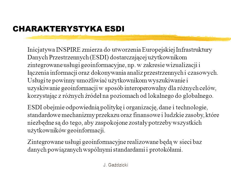 J. Gaździcki CHARAKTERYSTYKA ESDI Inicjatywa INSPIRE zmierza do utworzenia Europejskiej Infrastruktury Danych Przestrzennych (ESDI) dostarczającej uży
