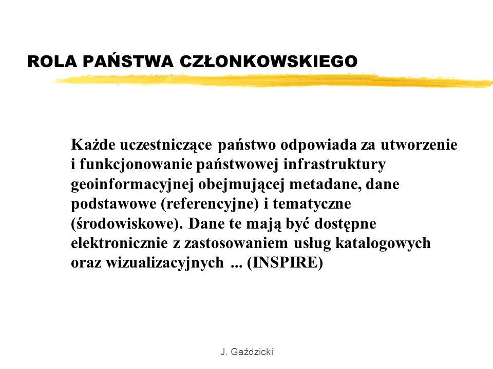 J. Gaździcki Każde uczestniczące państwo odpowiada za utworzenie i funkcjonowanie państwowej infrastruktury geoinformacyjnej obejmującej metadane, dan