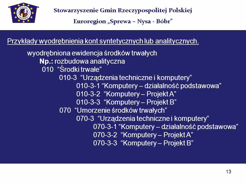 13 Przykłady wyodrębnienia kont syntetycznych lub analitycznych. wyodrębniona ewidencja środków trwałych Np.: rozbudowa analityczna 010 Środki trwałe