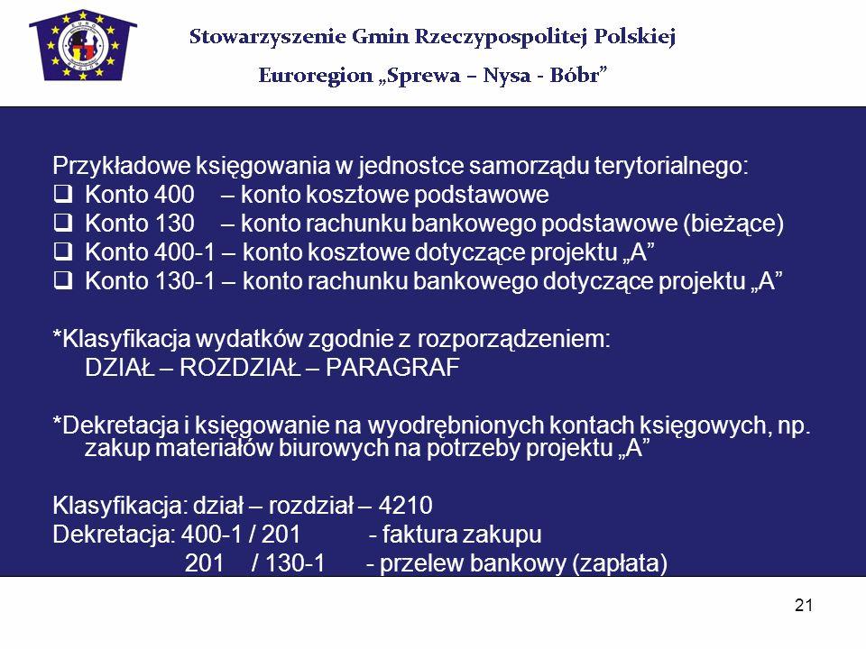21 Przykładowe księgowania w jednostce samorządu terytorialnego: Konto 400 – konto kosztowe podstawowe Konto 130 – konto rachunku bankowego podstawowe
