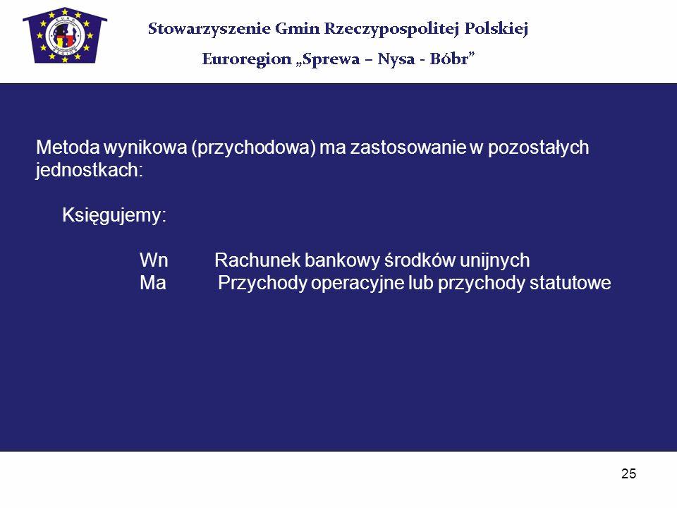 25 Metoda wynikowa (przychodowa) ma zastosowanie w pozostałych jednostkach: Księgujemy: Wn Rachunek bankowy środków unijnych Ma Przychody operacyjne l