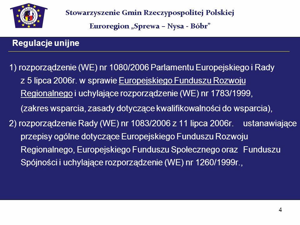 4 Regulacje unijne 1) rozporządzenie (WE) nr 1080/2006 Parlamentu Europejskiego i Rady z 5 lipca 2006r. w sprawie Europejskiego Funduszu Rozwoju Regio