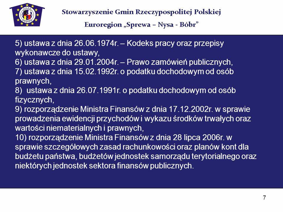 7 5) ustawa z dnia 26.06.1974r. – Kodeks pracy oraz przepisy wykonawcze do ustawy, 6) ustawa z dnia 29.01.2004r. – Prawo zamówień publicznych, 7) usta