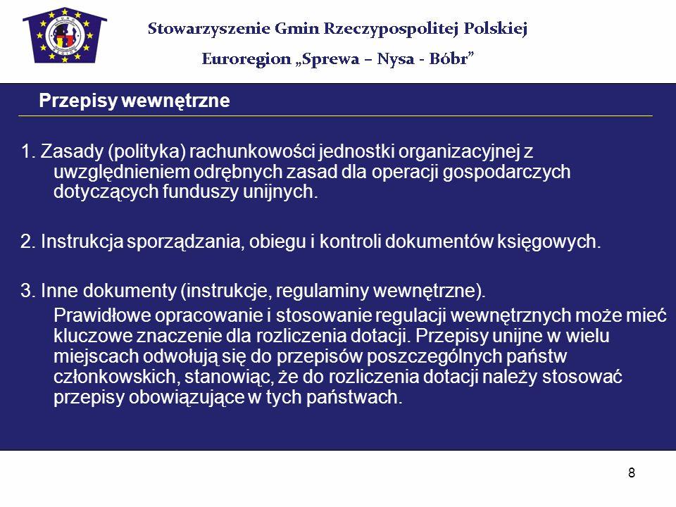 8 Przepisy wewnętrzne 1. Zasady (polityka) rachunkowości jednostki organizacyjnej z uwzględnieniem odrębnych zasad dla operacji gospodarczych dotycząc
