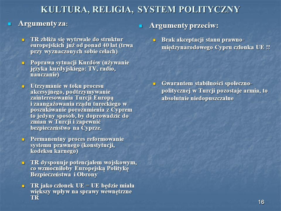16 KULTURA, RELIGIA, SYSTEM POLITYCZNY Argumenty za : Argumenty za : TR zbliża się wytrwale do struktur europejskich już od ponad 40 lat (trwa przy wy