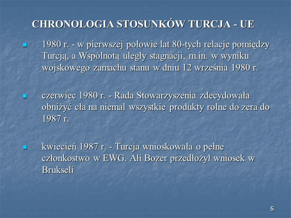 5 CHRONOLOGIA STOSUNKÓW TURCJA - UE 1980 r. - w pierwszej połowie lat 80-tych relacje pomiędzy Turcją, a Wspólnotą uległy stagnacji, m.in. w wyniku wo