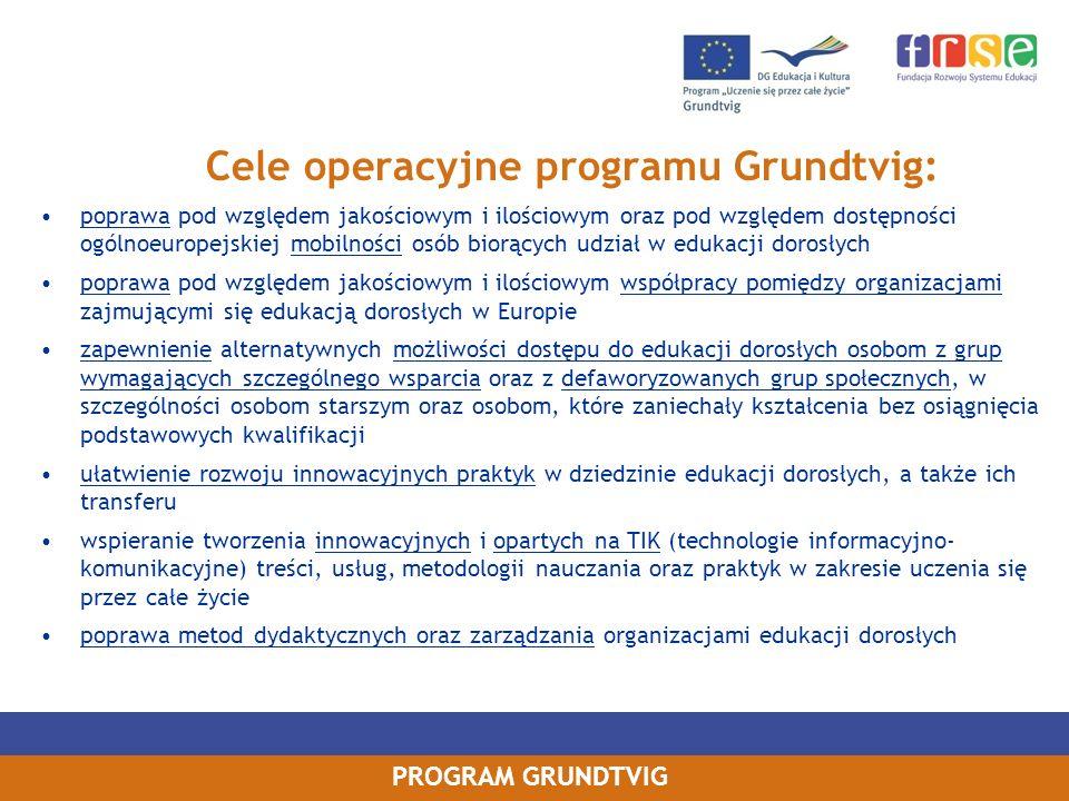PROGRAM GRUNDTVIG poprawa pod względem jakościowym i ilościowym oraz pod względem dostępności ogólnoeuropejskiej mobilności osób biorących udział w ed