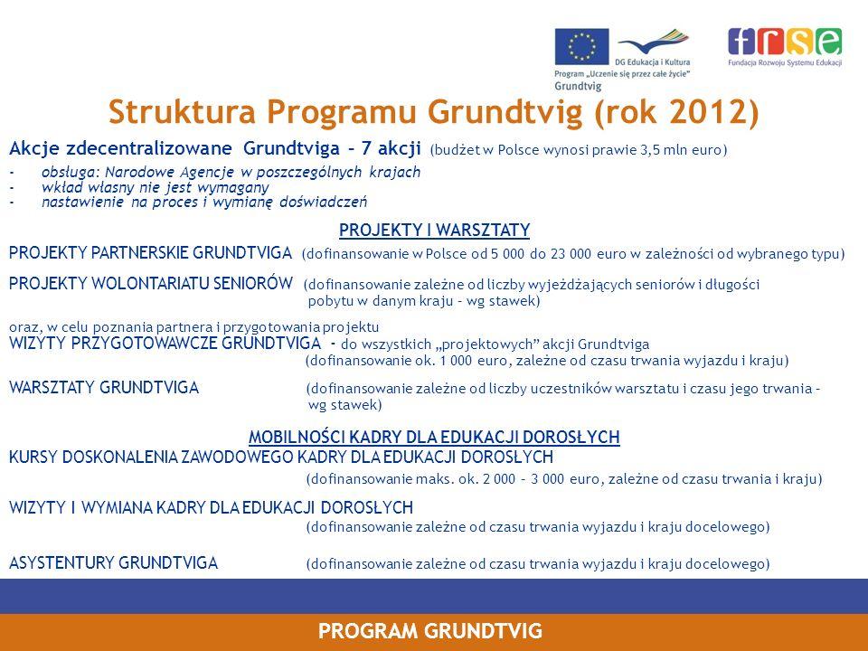 PROGRAM GRUNDTVIG Struktura Programu Grundtvig (rok 2012) Akcje zdecentralizowane Grundtviga – 7 akcji (budżet w Polsce wynosi prawie 3,5 mln euro) -o