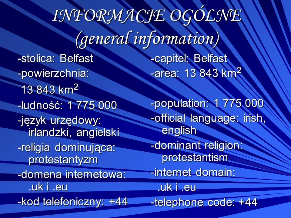 INFORMACJE OGÓLNE (general information) -stolica: Belfast -powierzchnia: 13 843 km 2 13 843 km 2 -ludność: 1 775 000 -język urzędowy: irlandzki, angie
