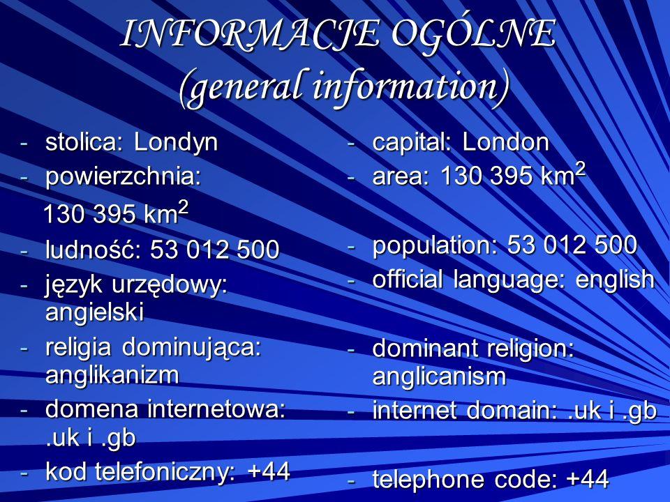 INFORMACJE OGÓLNE (general information) - stolica: Londyn - powierzchnia: 130 395 km 2 130 395 km 2 - ludność: 53 012 500 - język urzędowy: angielski