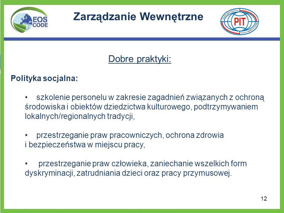 Zarządzanie Wewnętrzne Dobre praktyki: Polityka socjalna: szkolenie personelu w zakresie zagadnień związanych z ochroną środowiska i obiektów dziedzic