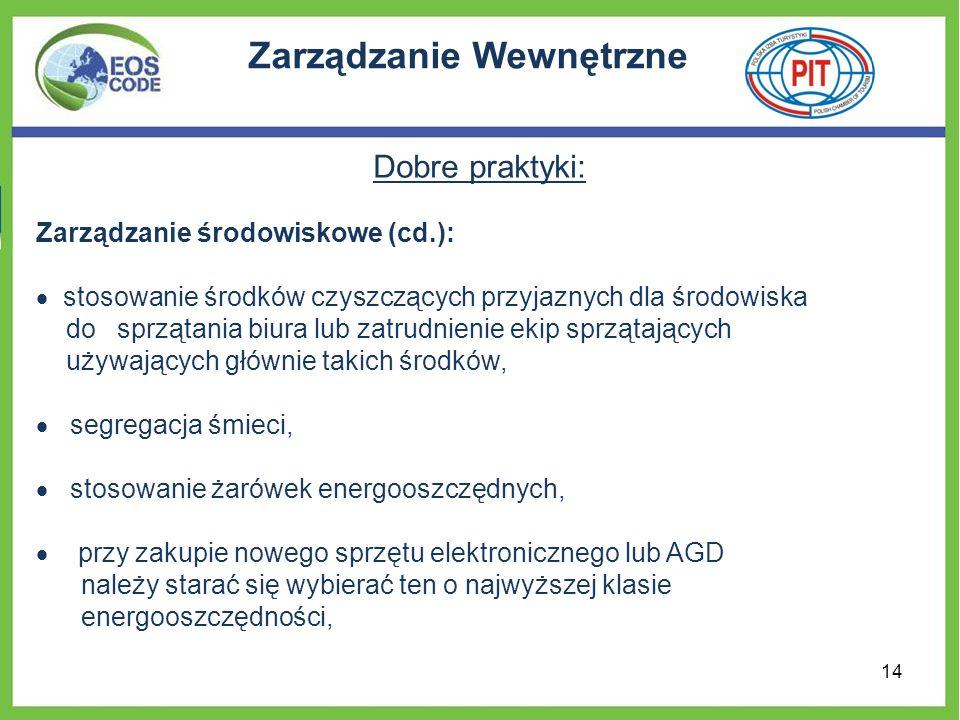 Zarządzanie Wewnętrzne Dobre praktyki: Zarządzanie środowiskowe (cd.): stosowanie środków czyszczących przyjaznych dla środowiska do sprzątania biura