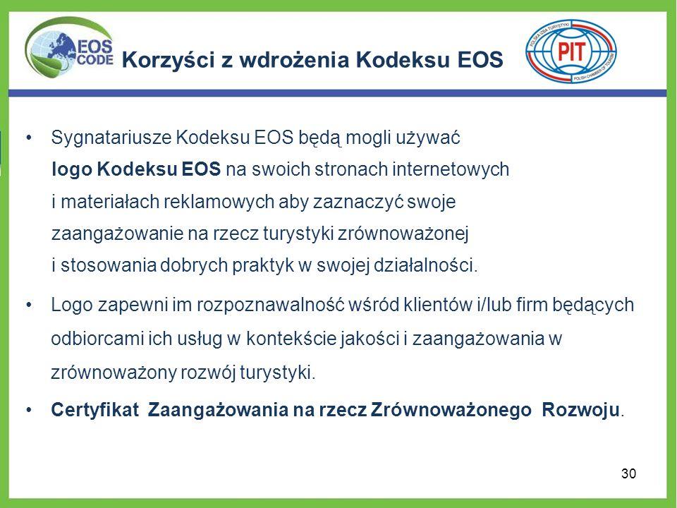 Korzyści z wdrożenia Kodeksu EOS Sygnatariusze Kodeksu EOS będą mogli używać logo Kodeksu EOS na swoich stronach internetowych i materiałach reklamowych aby zaznaczyć swoje zaangażowanie na rzecz turystyki zrównoważonej i stosowania dobrych praktyk w swojej działalności.