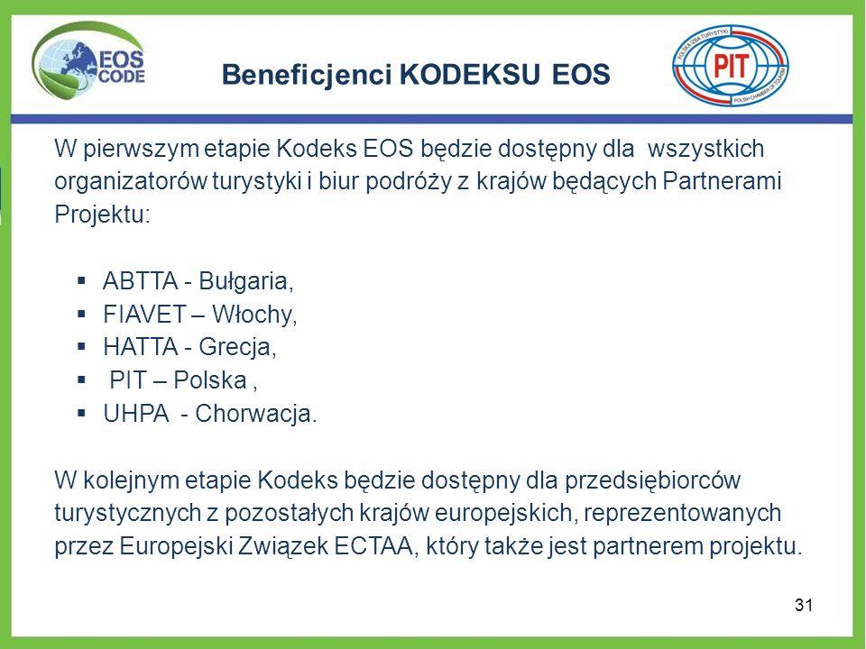 Beneficjenci KODEKSU EOS W pierwszym etapie Kodeks EOS będzie dostępny dla wszystkich organizatorów turystyki i biur podróży z krajów będących Partnerami Projektu: ABTTA - Bułgaria, FIAVET – Włochy, HATTA - Grecja, PIT – Polska, UHPA - Chorwacja.