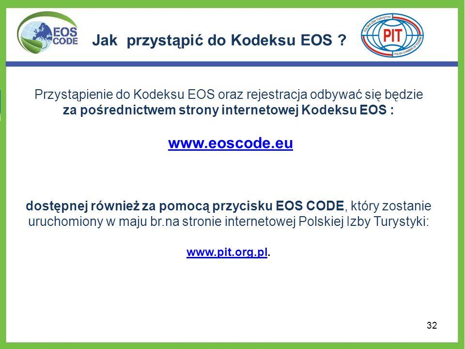Jak przystąpić do Kodeksu EOS ? Przystąpienie do Kodeksu EOS oraz rejestracja odbywać się będzie za pośrednictwem strony internetowej Kodeksu EOS : ww