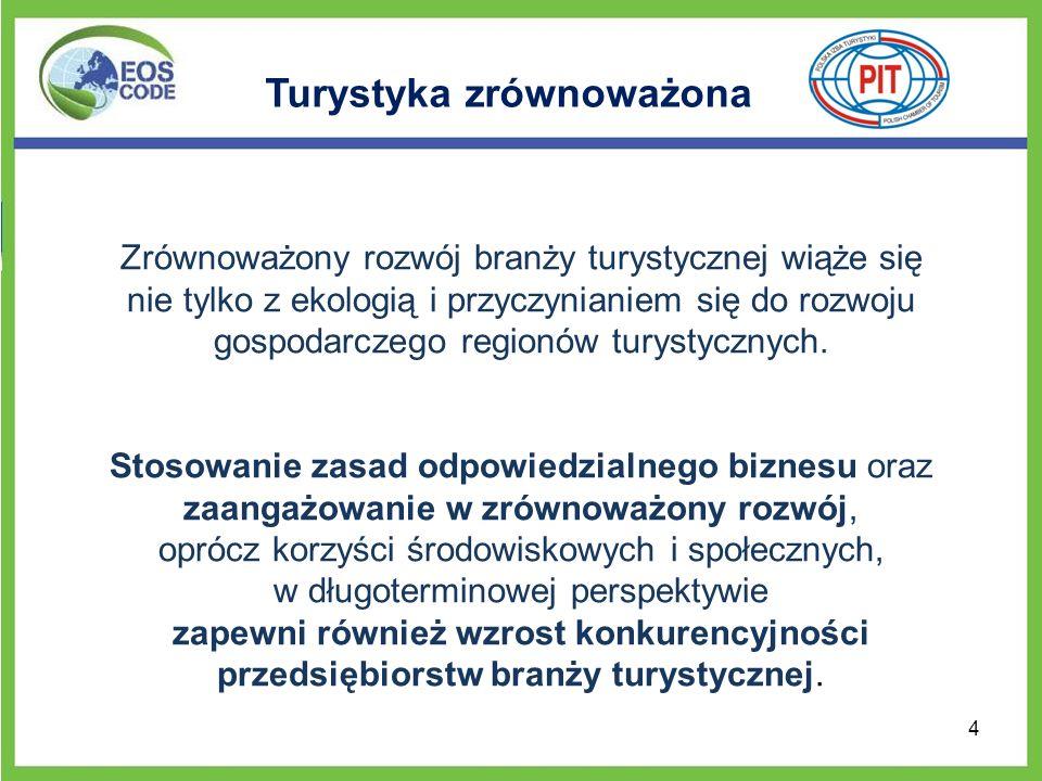 Projekt EOS CODE Wszystkie te uwarunkowania w rozwoju gospodarki światowej, w tym branży turystycznej przyczyniły się do zaangażowania Polskiej Izby Turystyki w międzynarodowy projekt, współfinansowany w 70 % przez Unię Europejską, którego celem było opracowanie Kodeksu Dobrych Praktyk na rzecz Zrównoważonego Rozwoju Turystyki – EOS CODE.