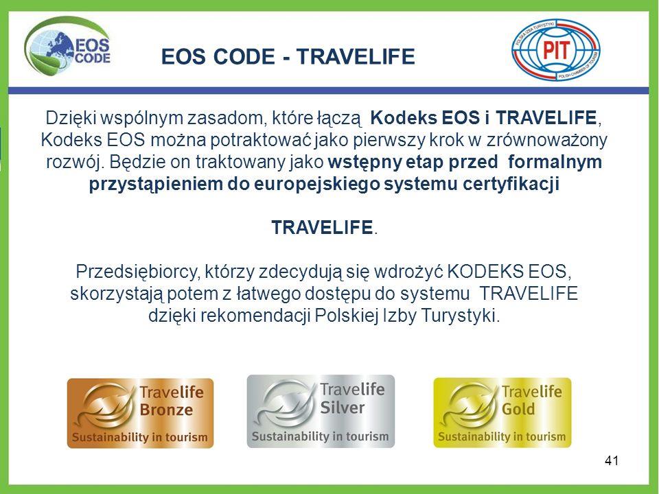 EOS CODE - TRAVELIFE Dzięki wspólnym zasadom, które łączą Kodeks EOS i TRAVELIFE, Kodeks EOS można potraktować jako pierwszy krok w zrównoważony rozwó