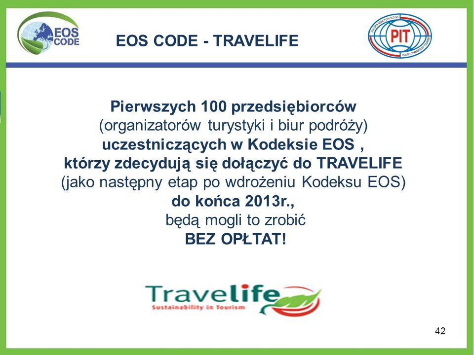 EOS CODE - TRAVELIFE Pierwszych 100 przedsiębiorców (organizatorów turystyki i biur podróży) uczestniczących w Kodeksie EOS, którzy zdecydują się dołą