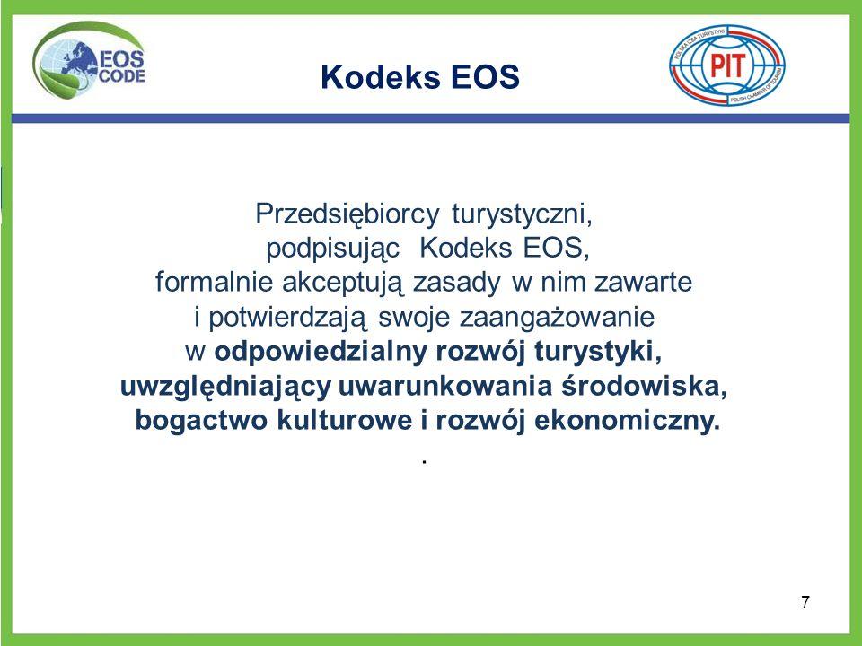Podręcznik Dobrych Praktyk Aby ułatwić wypełnienie zobowiązań zgodnie z zasadami Kodeksu EOS, powstał Podręcznik Dobrych Praktyk na rzecz Zrównoważonej Turystyki dla przedsiębiorców z branży turystycznej w Europie.