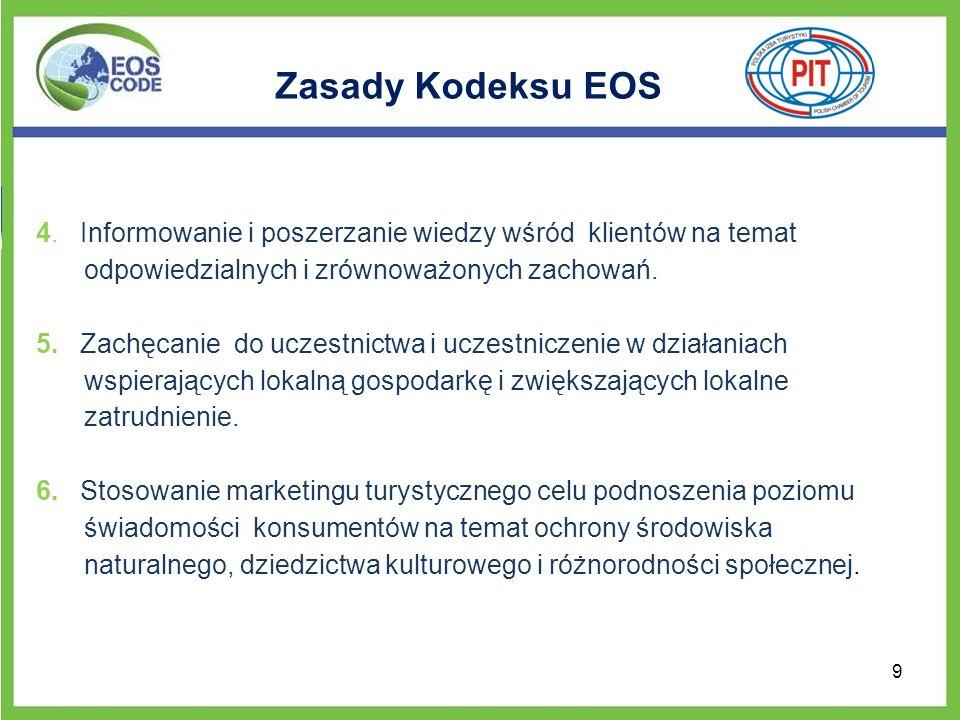 Zasady Kodeksu EOS 4. Informowanie i poszerzanie wiedzy wśród klientów na temat odpowiedzialnych i zrównoważonych zachowań. 5. Zachęcanie do uczestnic