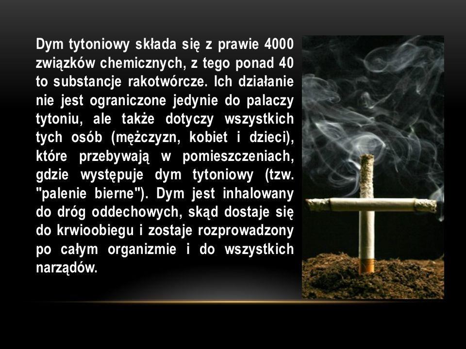 Dym tytoniowy składa się z prawie 4000 związków chemicznych, z tego ponad 40 to substancje rakotwórcze. Ich działanie nie jest ograniczone jedynie do