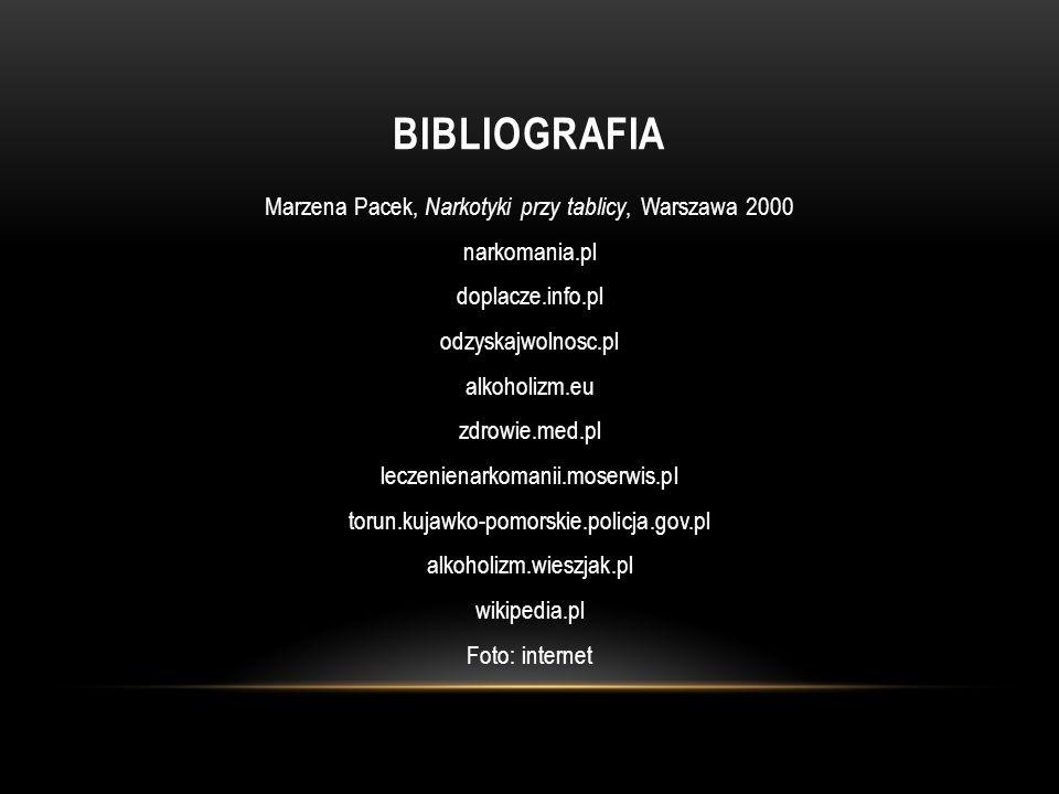 BIBLIOGRAFIA Marzena Pacek, Narkotyki przy tablicy, Warszawa 2000 narkomania.pl doplacze.info.pl odzyskajwolnosc.pl alkoholizm.eu zdrowie.med.pl lecze