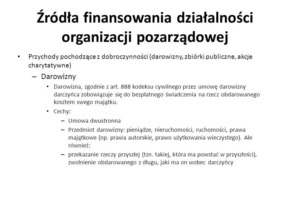 Źródła finansowania działalności organizacji pozarządowej Przychody pochodzące z dobroczynności (darowizny, zbiórki publiczne, akcje charytatywne) – D