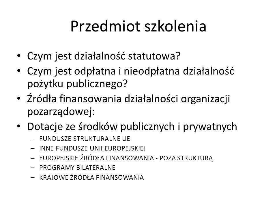 Źródła finansowania działalności organizacji pozarządowej EUROPEJSKIE ŹRÓDŁA FINANSOWANIA - POZA STRUKTURĄ UE – Mechanizm Finansowy Europejskiego Obszaru Gospodarczego i Norweski Mechanizm Finansowy Realizatorzy – W Polsce program wdrażany jest przez Fundację im.