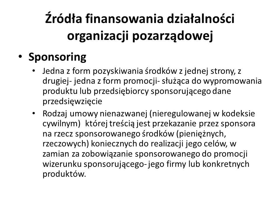 Źródła finansowania działalności organizacji pozarządowej Sponsoring Jedna z form pozyskiwania środków z jednej strony, z drugiej- jedna z form promoc