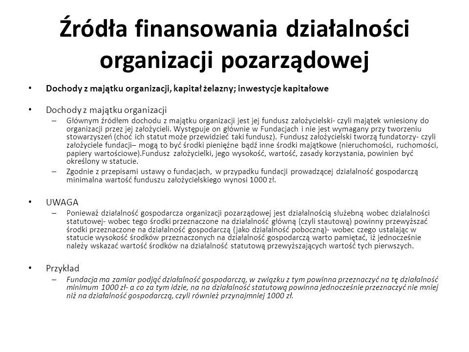 Źródła finansowania działalności organizacji pozarządowej Dochody z majątku organizacji, kapitał żelazny; inwestycje kapitałowe Dochody z majątku orga