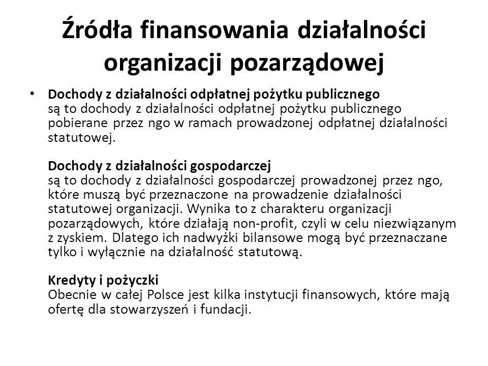Źródła finansowania działalności organizacji pozarządowej Dochody z działalności odpłatnej pożytku publicznego są to dochody z działalności odpłatnej