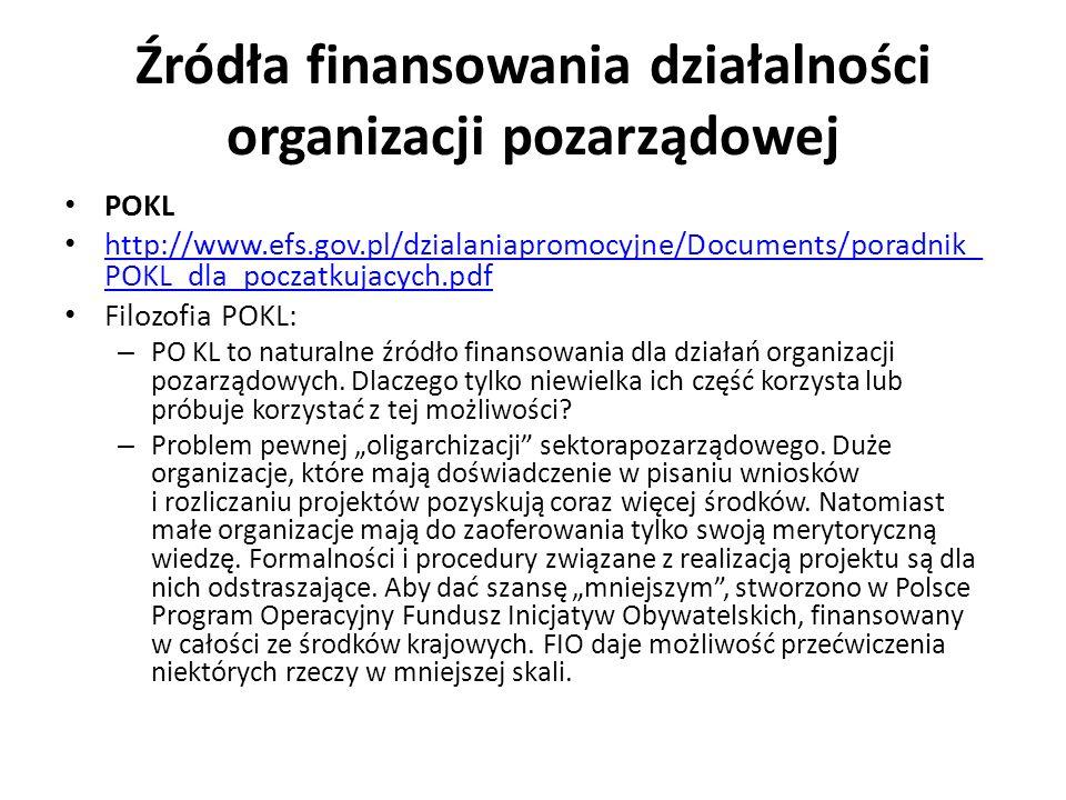 Źródła finansowania działalności organizacji pozarządowej POKL http://www.efs.gov.pl/dzialaniapromocyjne/Documents/poradnik_ POKL_dla_poczatkujacych.p