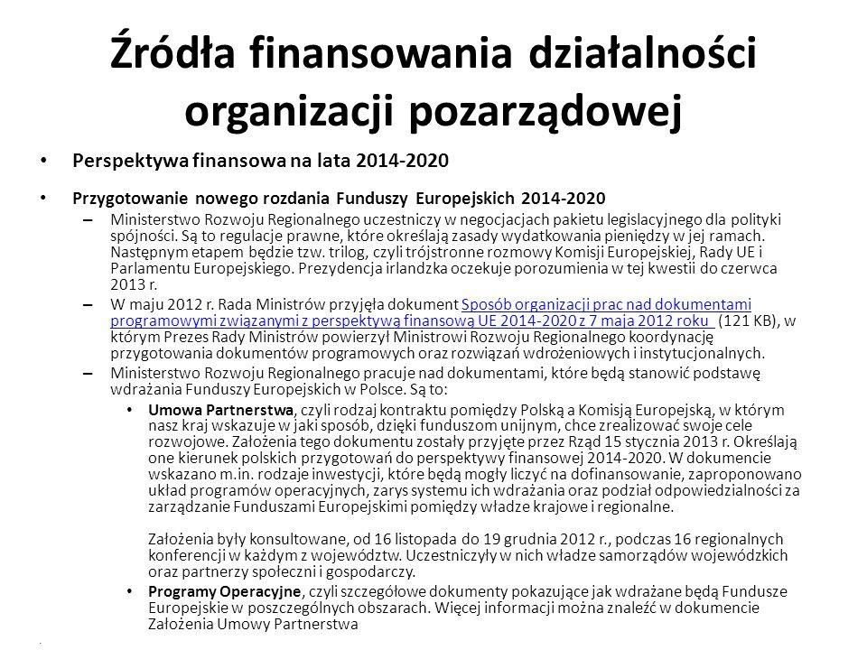 Źródła finansowania działalności organizacji pozarządowej Perspektywa finansowa na lata 2014-2020 Przygotowanie nowego rozdania Funduszy Europejskich