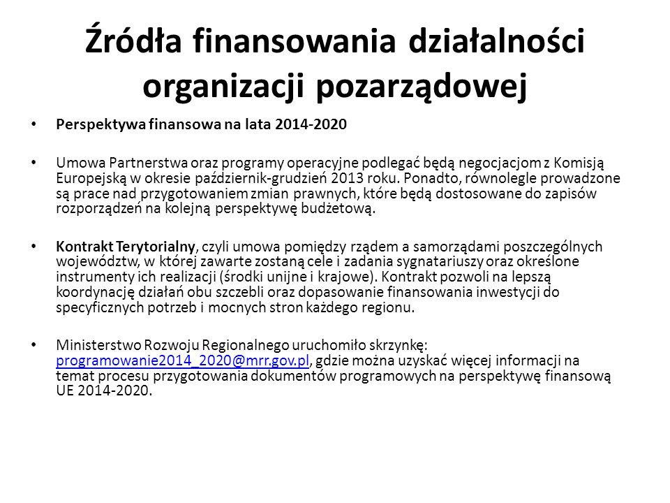 Źródła finansowania działalności organizacji pozarządowej Perspektywa finansowa na lata 2014-2020 Umowa Partnerstwa oraz programy operacyjne podlegać