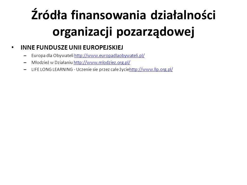 Źródła finansowania działalności organizacji pozarządowej INNE FUNDUSZE UNII EUROPEJSKIEJ – Europa dla Obywateli http://www.europadlaobywateli.pl/http