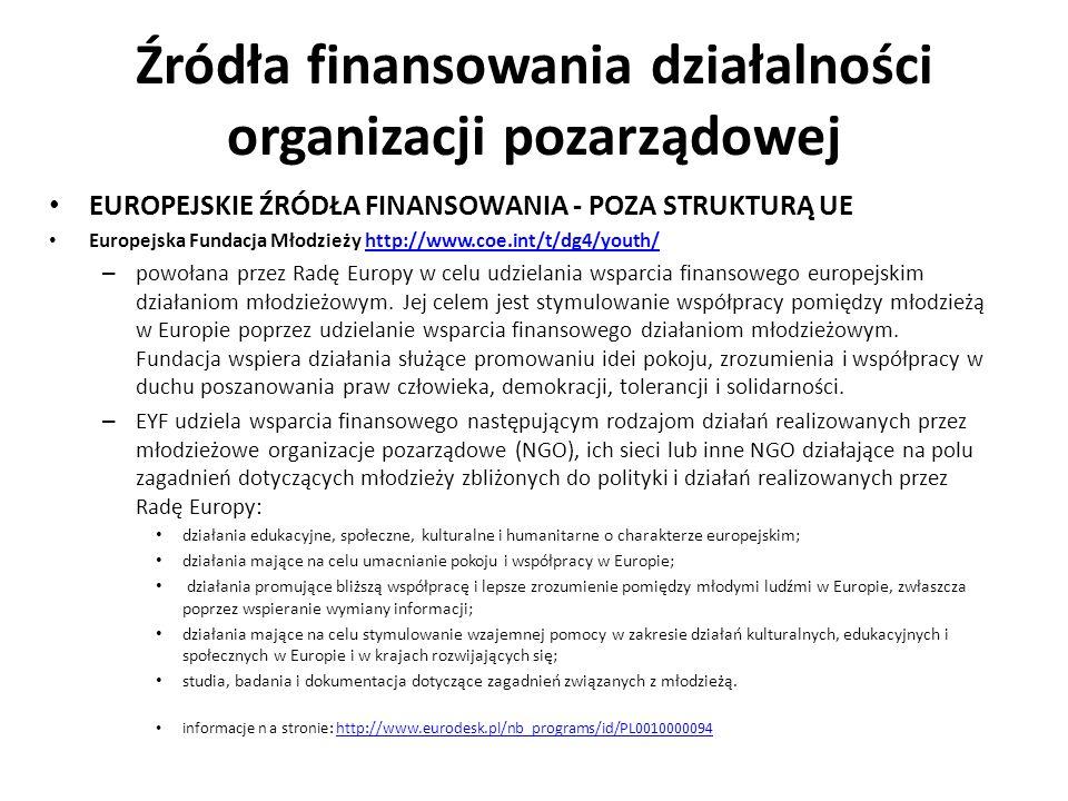 Źródła finansowania działalności organizacji pozarządowej EUROPEJSKIE ŹRÓDŁA FINANSOWANIA - POZA STRUKTURĄ UE Europejska Fundacja Młodzieży http://www