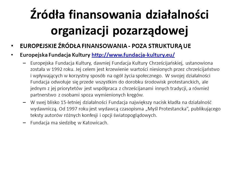 Źródła finansowania działalności organizacji pozarządowej EUROPEJSKIE ŹRÓDŁA FINANSOWANIA - POZA STRUKTURĄ UE Europejska Fundacja Kultury http://www.f