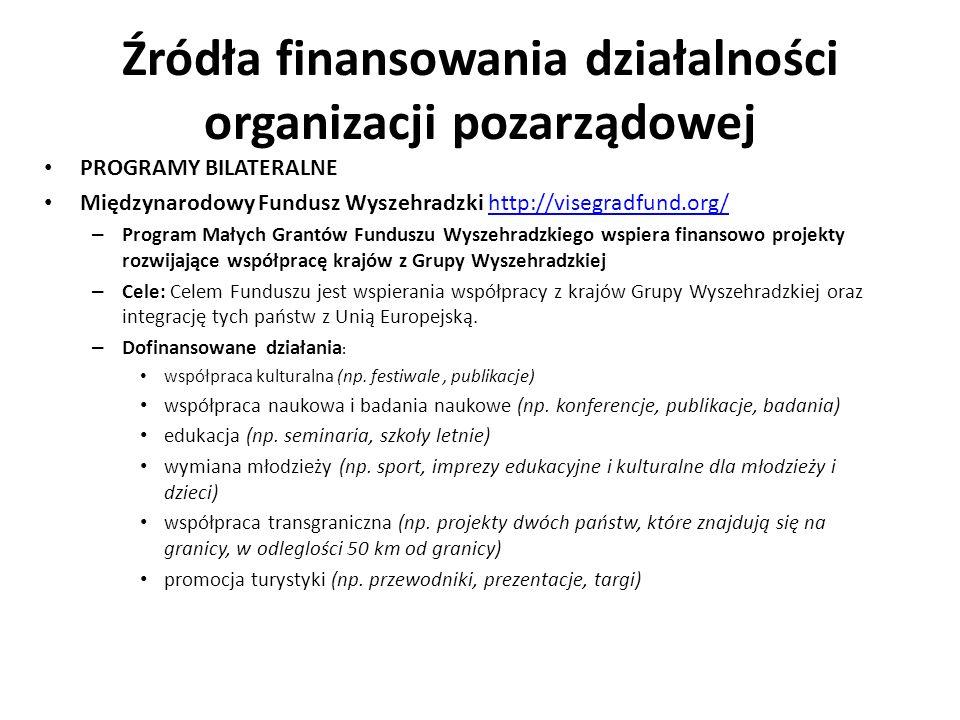 Źródła finansowania działalności organizacji pozarządowej PROGRAMY BILATERALNE Międzynarodowy Fundusz Wyszehradzki http://visegradfund.org/http://vise
