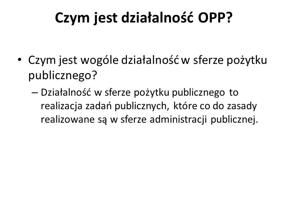 Czym jest działalność OPP? Czym jest wogóle działalność w sferze pożytku publicznego? – Działalność w sferze pożytku publicznego to realizacja zadań p