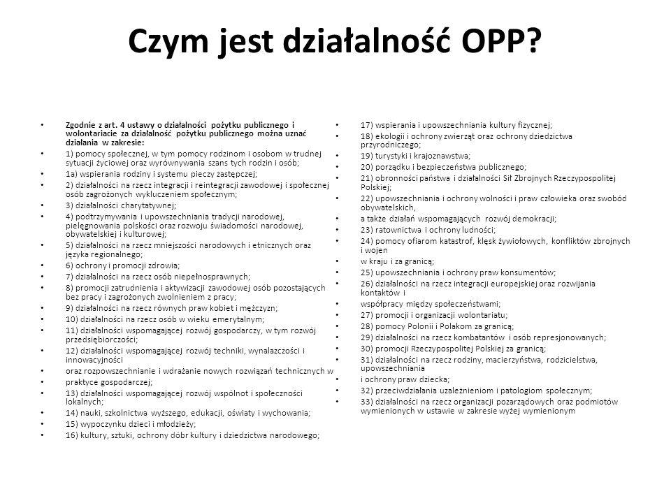 Czym jest działalność OPP? Zgodnie z art. 4 ustawy o działalności pożytku publicznego i wolontariacie za działalność pożytku publicznego można uznać d