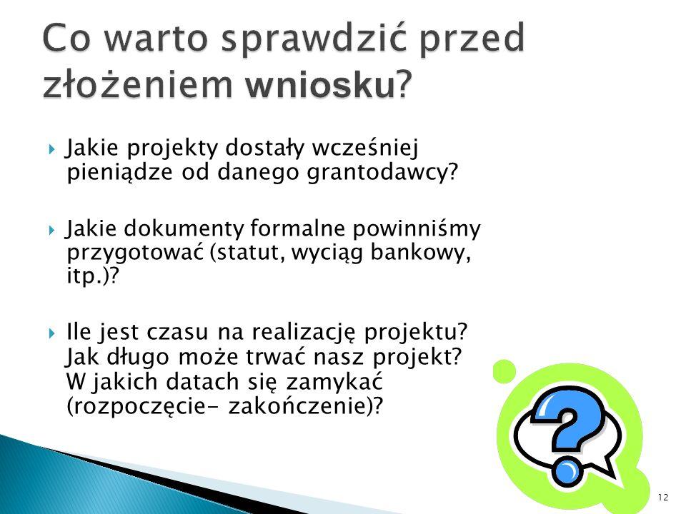Jakie projekty dostały wcześniej pieniądze od danego grantodawcy? Jakie dokumenty formalne powinniśmy przygotować (statut, wyciąg bankowy, itp.)? Ile
