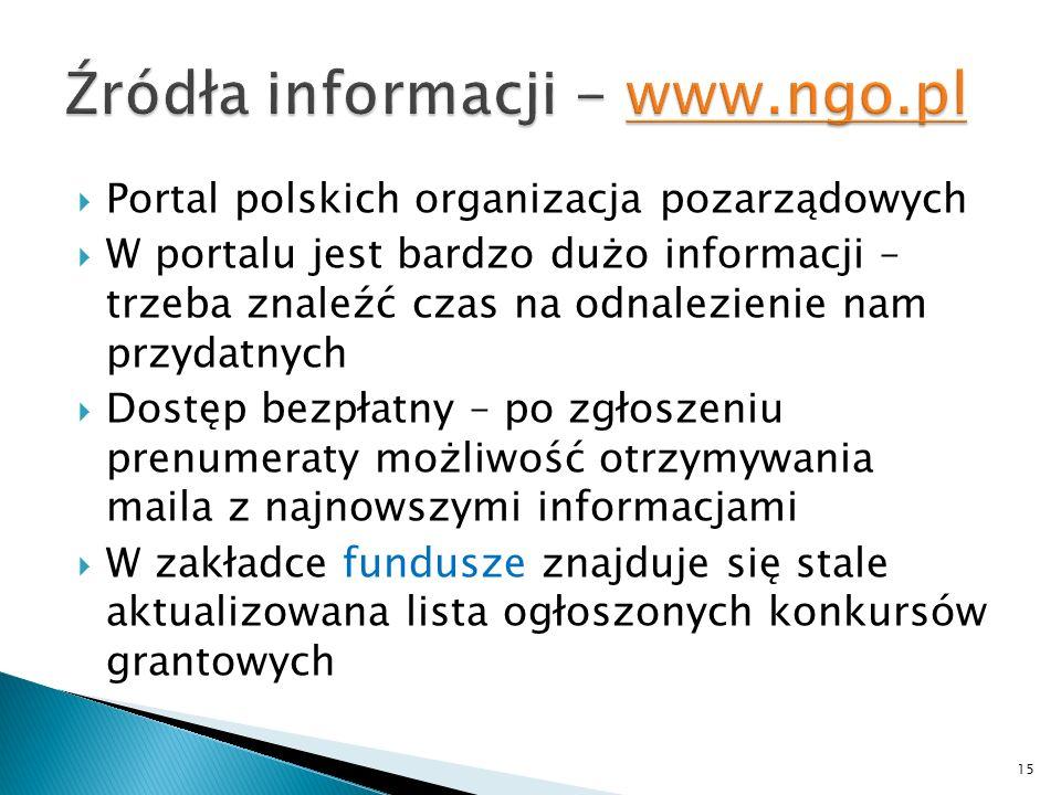 Portal polskich organizacja pozarządowych W portalu jest bardzo dużo informacji – trzeba znaleźć czas na odnalezienie nam przydatnych Dostęp bezpłatny – po zgłoszeniu prenumeraty możliwość otrzymywania maila z najnowszymi informacjami W zakładce fundusze znajduje się stale aktualizowana lista ogłoszonych konkursów grantowych 15