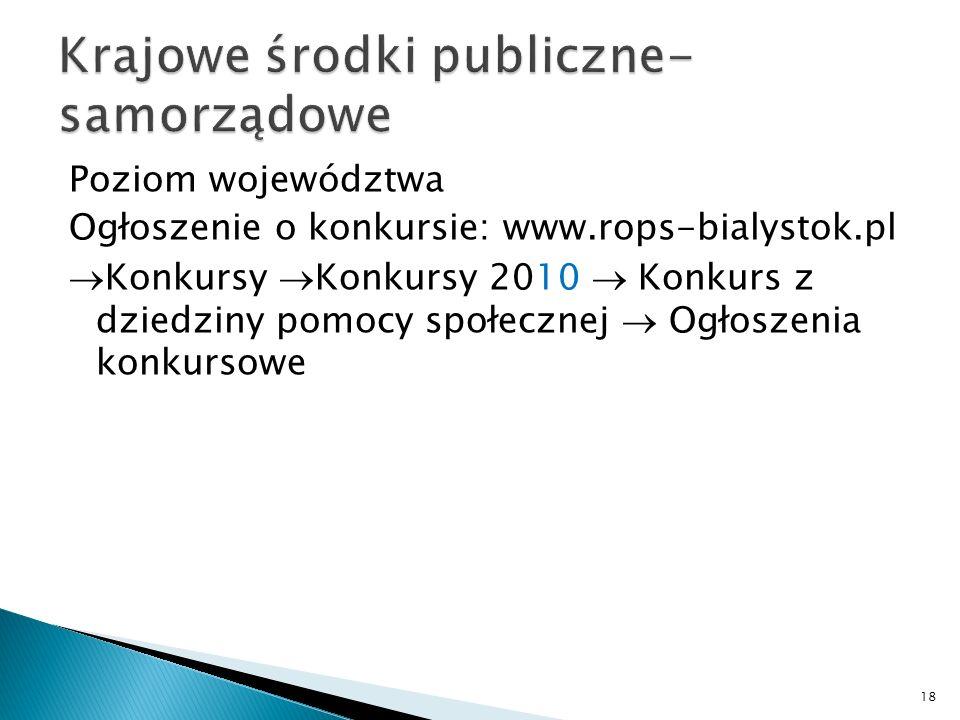 Poziom województwa Ogłoszenie o konkursie: www.rops-bialystok.pl Konkursy Konkursy 2010 Konkurs z dziedziny pomocy społecznej Ogłoszenia konkursowe 18