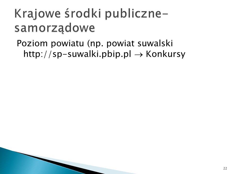 Poziom powiatu (np. powiat suwalski http://sp-suwalki.pbip.pl Konkursy 22