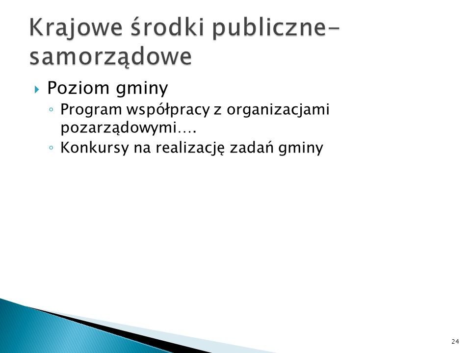 Poziom gminy Program współpracy z organizacjami pozarządowymi…. Konkursy na realizację zadań gminy 24