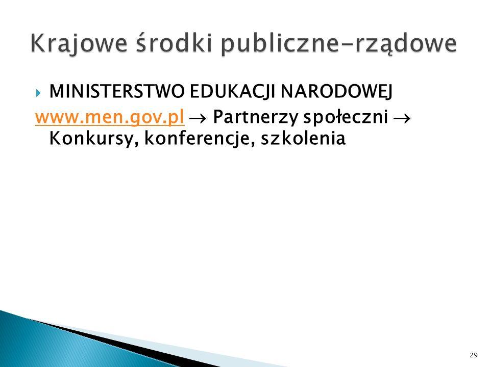 MINISTERSTWO EDUKACJI NARODOWEJ www.men.gov.plwww.men.gov.pl Partnerzy społeczni Konkursy, konferencje, szkolenia 29